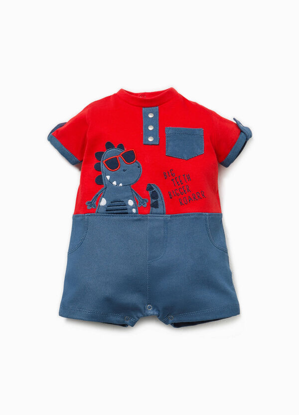 Stretch romper suit with patch and embroidery | OVS