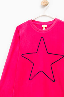 Fleece pyjamas with star pattern, Fuchsia, hi-res