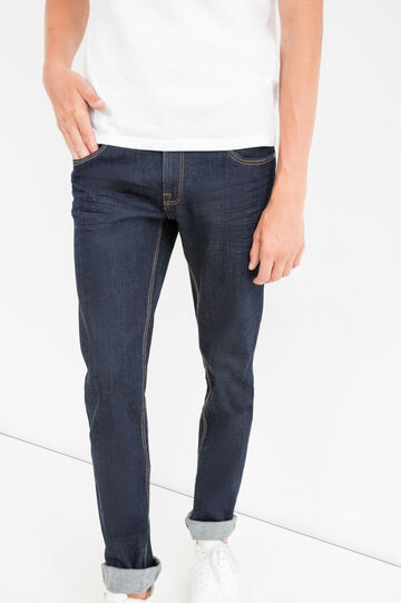 Solid colour, slim-fit stretch jeans, Dark Wash, hi-res