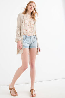Shorts jeans used con strappi, Blu, hi-res