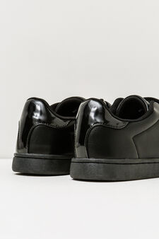 Solid colour sneakers, Black, hi-res