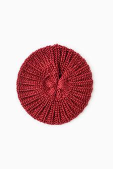 Knitted beanie cap, Dark Red, hi-res