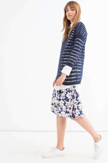 Striped cotton blend pullover, Navy Blue, hi-res