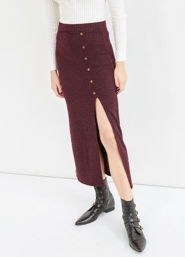 Falda larga en canalé con abertura | OVS