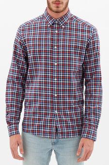 Camicia tartan regular fit, Blu/rosso, hi-res
