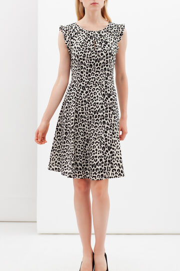 Animal print dress with round skirt, White/Black, hi-res