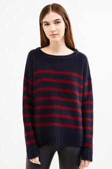 Pullover tricot fantasia a righe, Blu/rosso, hi-res