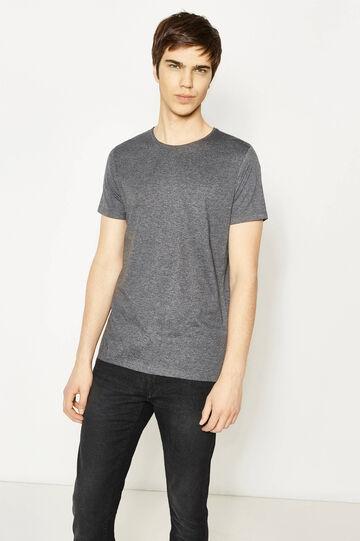 Camiseta en mezcla de algodón en color liso, Gris oscuro jaspeado, hi-res