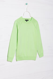 100% cotton knitted pullover, Mint Green, hi-res