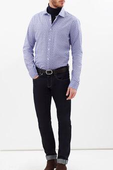 Slim fit patterned cotton shirt, Blue/Red, hi-res