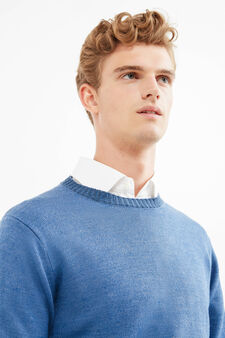 Solid colour knitted pullover, Blue, hi-res