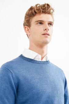 Pullover tinta unita lavorato tricot, Blu, hi-res