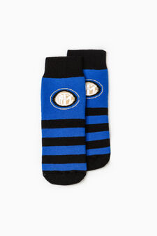 Football team slipper socks, Black/Blue, hi-res