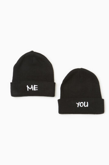 Two-pack hats with embroidered lettering, Black, hi-res