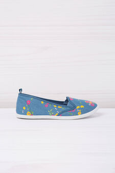 Floral patterned slip-ons, Blue/Yellow, hi-res