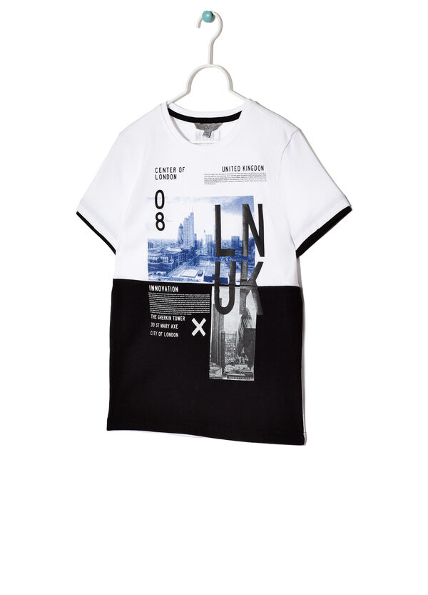 T-shirt with insert in contrasting colour | OVS