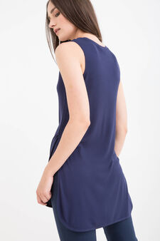 100% viscose top with slits, Navy Blue, hi-res