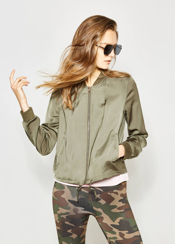 Solid colour crew neck bomber jacket with zip | OVS