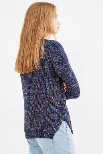 Solid colour knit pullover with slits, Navy Blue, hi-res