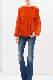 Crêpe blouse with pleated motif, Orange, hi-res