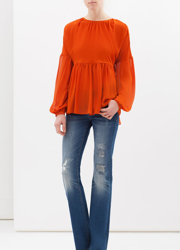 Crêpe blouse with pleated motif | OVS