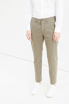 Solid colour regular-fit chino trousers, Army Green, hi-res