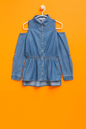 Denim shirt with bluff collar, Medium Wash, hi-res