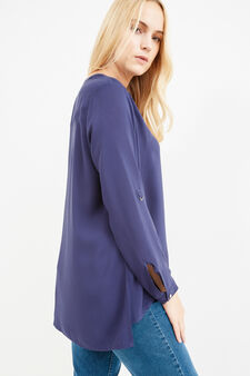 Curvy blouse with gathered shoulders, Dark Blue, hi-res