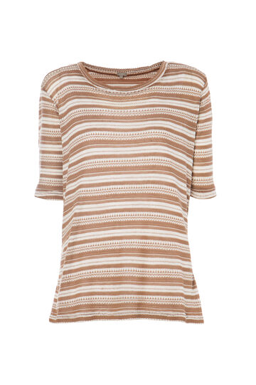 Smart Basic striped T-shirt, White/Brown, hi-res