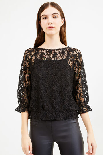 Lace blouse with inside top, Black, hi-res