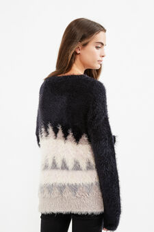 Teen faux fur stretch cotton pullover, Black, hi-res