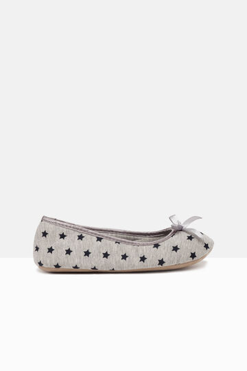 Printed ballerina flat slippers, Grey/Blue, hi-res