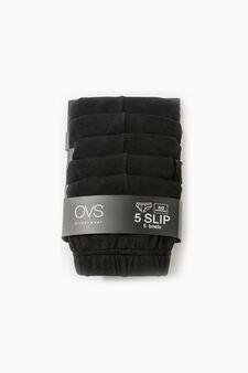Five-pack solid colour cotton briefs, Black, hi-res