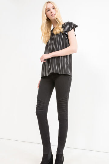 Blouse with raglan sleeves and stripes and polka dot print, Black, hi-res