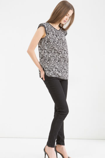 Patterned round neck blouse, Black/White, hi-res