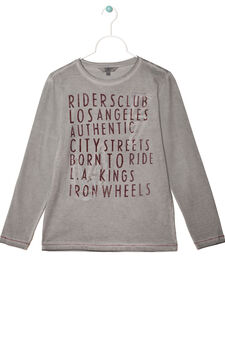 Letter print T-shirt in 100% cotton, Grey, hi-res