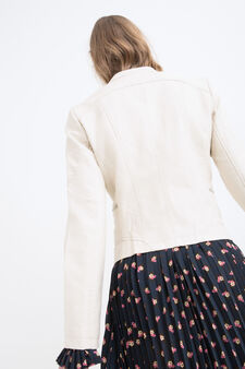 Leather look jacket with mandarin collar, Chalk White, hi-res