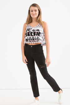 Crop top with all-over Teen print, White, hi-res