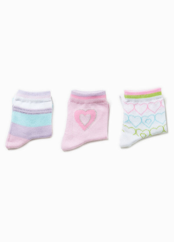Three-pair pack socks with hearts and stripes | OVS