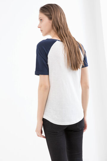 Cotton printed T-shirt with crew-neck, Navy Blue, hi-res