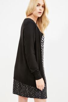 Curvy solid colour viscose cardigan, Black, hi-res