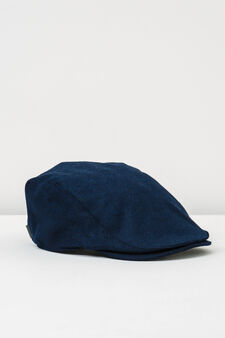 Solid colour flat cap with buttons, Blue, hi-res