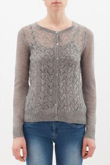 Wool blend embroidered cardigan, Light Grey, hi-res