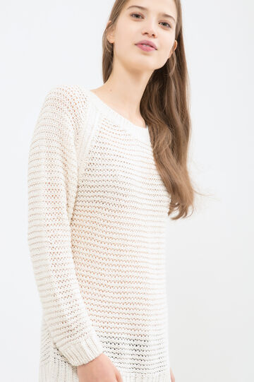 Solid colour knitted pullover, White, hi-res