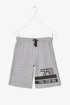 Pantaloni corti con stampa, Grigio chiaro melange, hi-res