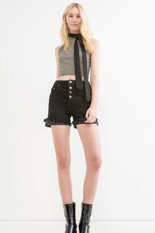 High-waist stretch denim shorts, Black, hi-res