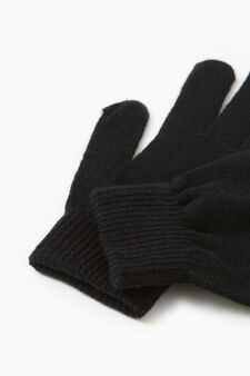 Solid colour gloves with ribbing, Black, hi-res