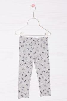 Pantaloni stretch con stampa, Grigio melange, hi-res
