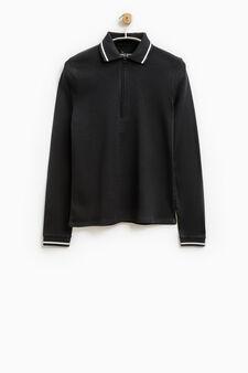 Smart Basic solid colour cotton polo shirt, Black, hi-res