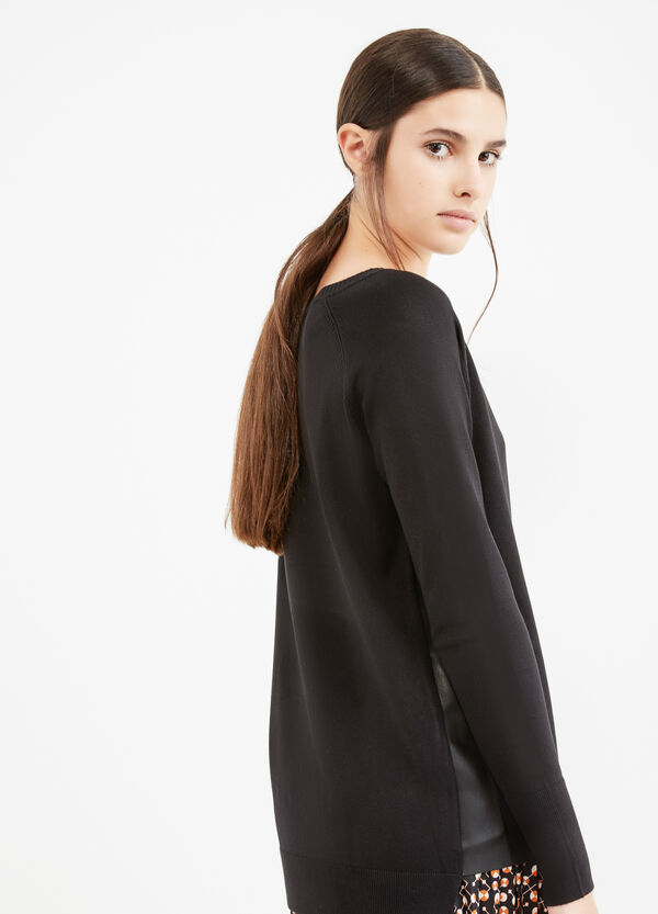 Solid colour pullover with faux leather inserts   OVS